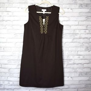 NWT Loft Brown Beaded Shift Dress Size 8